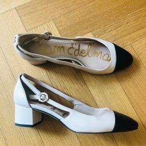Sam Edelman beige and black shoes.